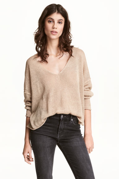 Linen-blend jumper - Beige - Ladies | H&M