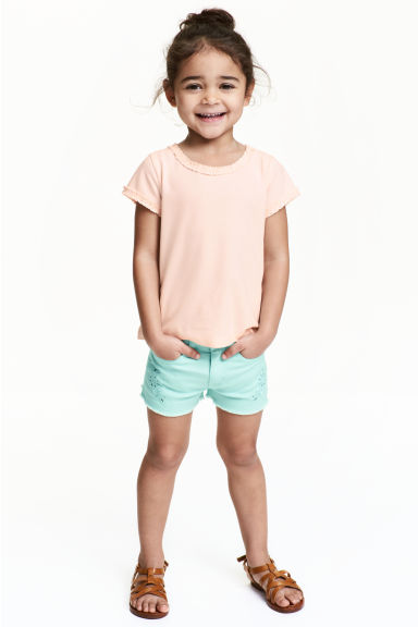 Embroidered twill shorts - Mint - Kids | H&M CN