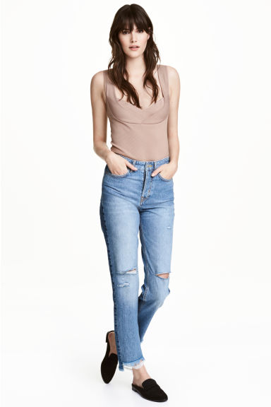 Straight Regular Trashed Jeans - 牛仔蓝 - 女 | H&M CN