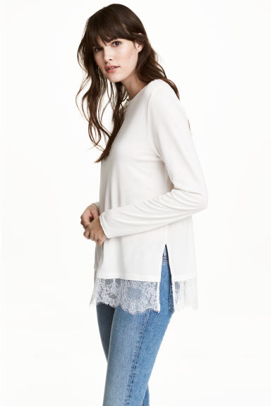 Long-sleeved top - White - Ladies | H&M CN