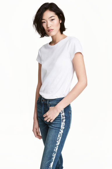Short-sleeved top - White - Ladies | H&M IE