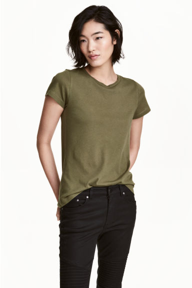 Short-sleeved top - Khaki green -  | H&M
