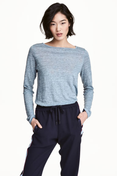 Long-sleeved linen top - Blue marl -  | H&M