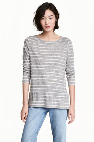 Long-sleeved linen top - Grey/Striped -  | H&M
