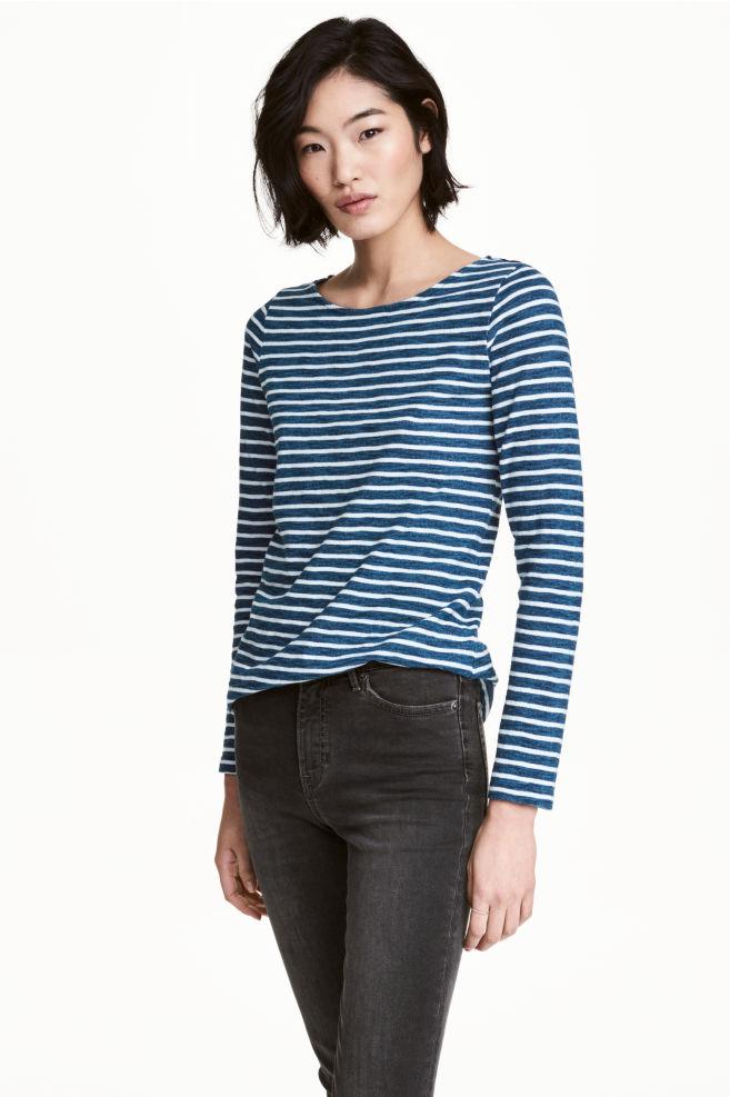 71395ca11ee8f Top in slub jersey - Dark blue/Striped - Ladies | H&M ...