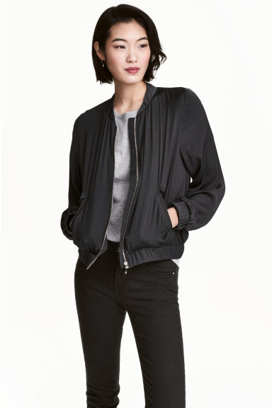 Bomber en satin - Noir -  | H&M BE