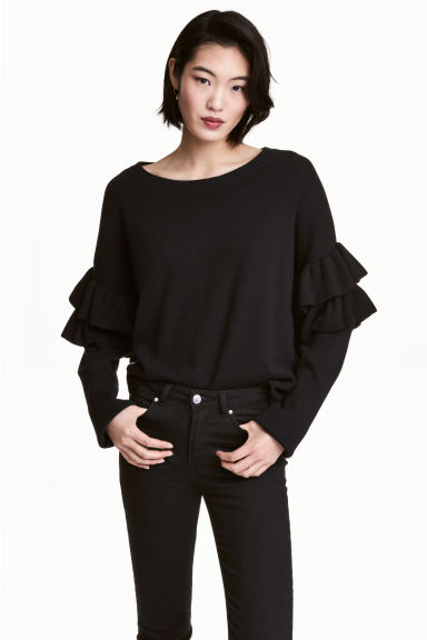 Jumper with frills - Black - Ladies | H&M GB