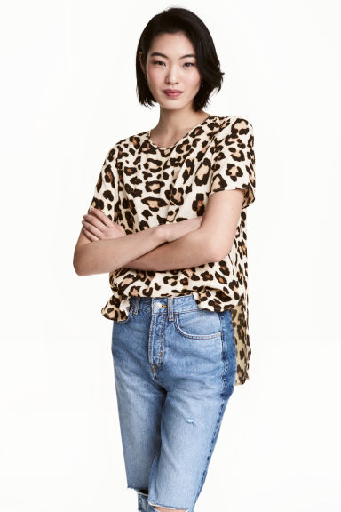 Short-sleeved top - Leopard print - Ladies | H&M CN