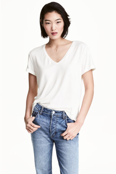 V-neck jersey top - White -  | H&M