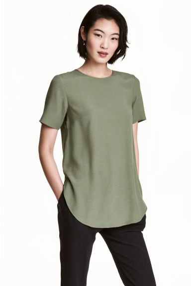 Short-sleeved top - Khaki green - Ladies | H&M CN