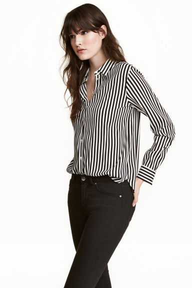 Long-sleeved blouse - Natural white/Striped -  | H&M GB
