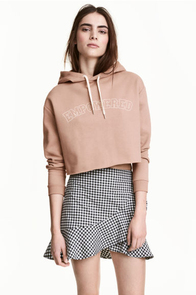 Cropped hooded top - Beige - Ladies | H&M