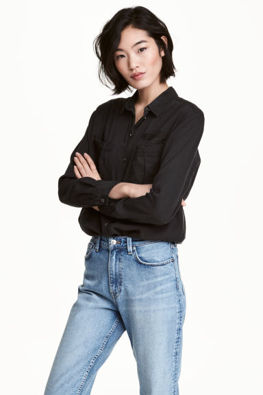 Lyocell utility shirt - Black - Ladies | H&M GB