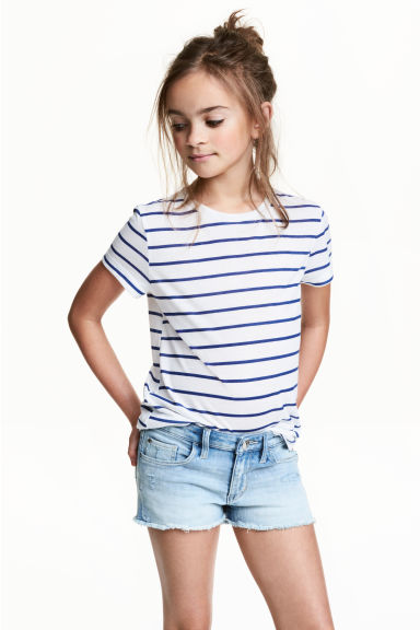 Short-sleeved jersey top - White/Blue striped - Kids | H&M CN