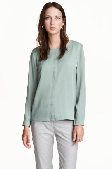 Satin blouse - Grey - Ladies | H&M