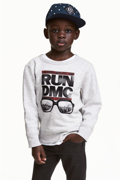Printed sweatshirt - Light grey/RUN DMC - Kids | H&M CN