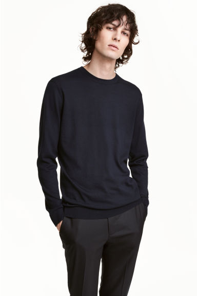 Premium cotton jumper - Dark blue -  | H&M