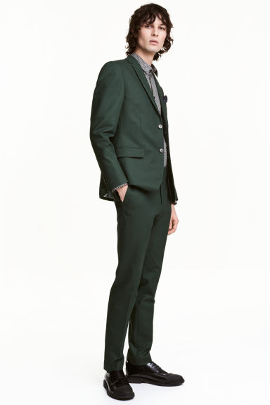 Cotton suit trousers - Dark green - Men | H&M