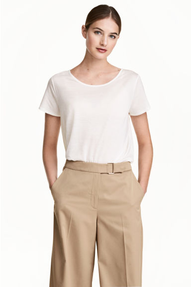 Lyocell top - Natural white -  | H&M