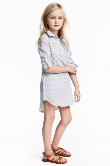 Shirt dress - Blue/White/Striped -  | H&M CN