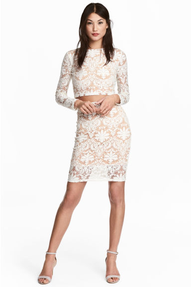 Patterned mesh skirt - Natural white -  | H&M IE