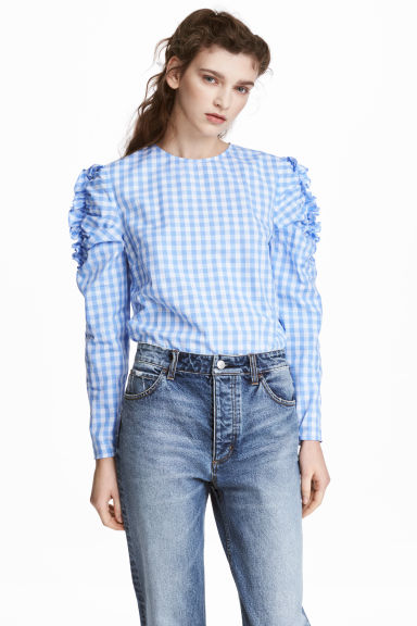 Frilled blouse - Light blue/Checked - Ladies | H&M GB