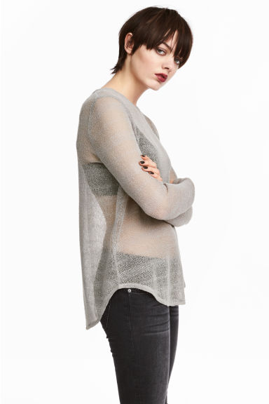 Knitted top - Grey - Ladies | H&M CN