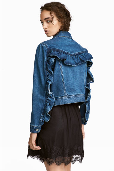 Flounced denim jacket - Denim blue - Ladies | H&M GB
