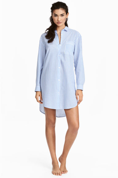 Cotton nightshirt - Lt.blue/Narrow strip - Ladies | H&M IE