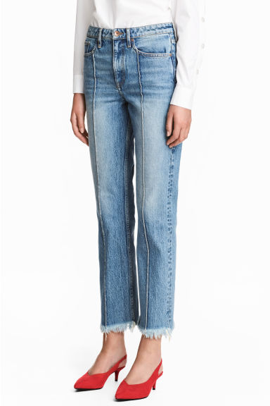 Straight Cropped High Jeans - Син деним - ЖЕНИ | H&M BG