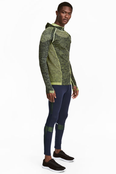 Running tights - Dark blue/Yellow - Men | H&M