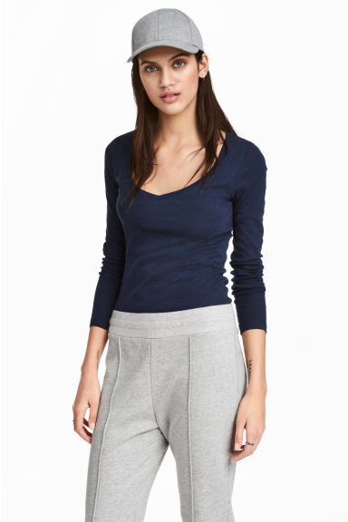 Slub jersey top - Dark blue marl - Ladies | H&M CN
