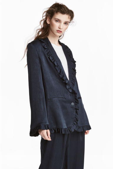 Frilled jacket - Dark blue -  | H&M