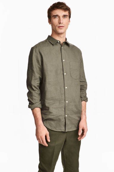 Linen shirt Relaxed fit - Khaki green -  | H&M