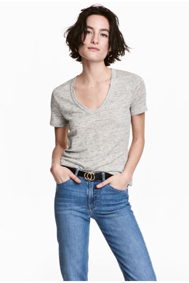 Linen jersey top - Light grey marl - Ladies | H&M GB