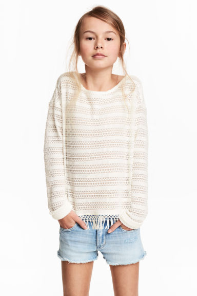 Hole-patterned top - Natural white - Kids | H&M CN