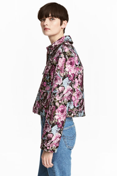 Jacquard-weave jacket - Black/Floral - Ladies | H&M
