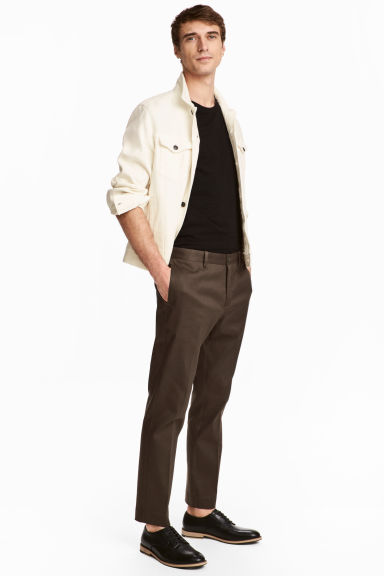 Cotton trousers Slim fit - Brown -  | H&M