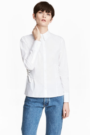 Cotton shirt with lacing - White - Ladies | H&M CN
