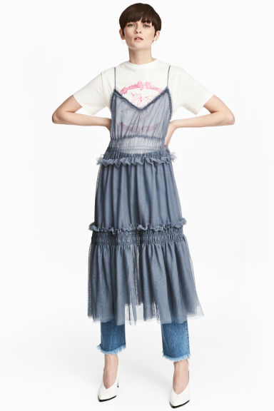 Tiered tulle dress - Dusky blue - Ladies | H&M