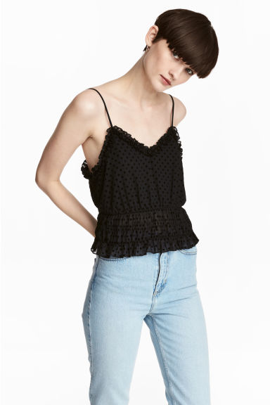 Short strappy top - Black/Spotted -  | H&M IE