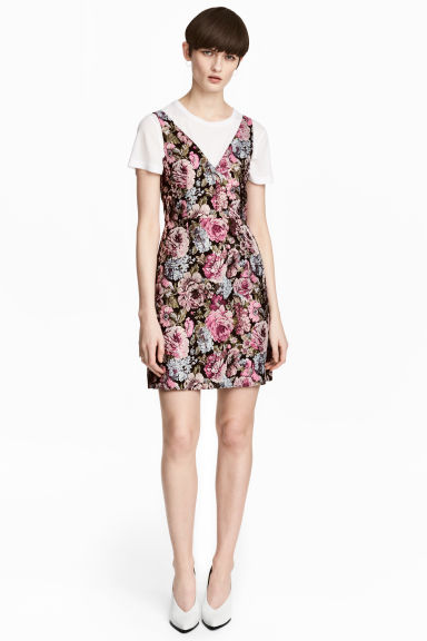 Jacquard-weave dress - Black/Floral - Ladies | H&M