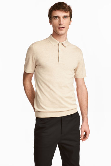 Silk-blend polo shirt - Beige - Men | H&M