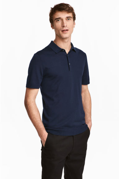 Silk-blend polo shirt - Navy blue - Men | H&M