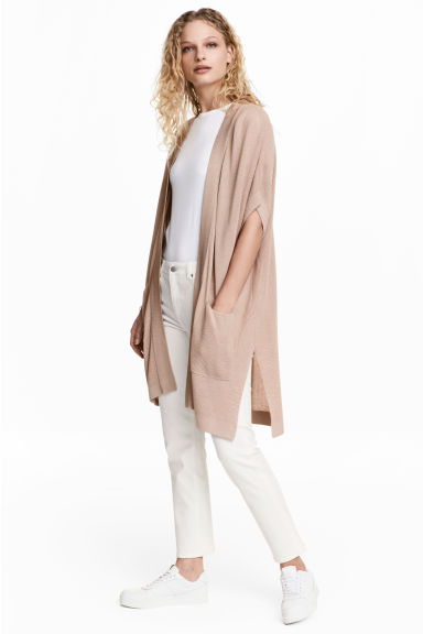 Ribbed cardigan - Light beige - Ladies | H&M CN