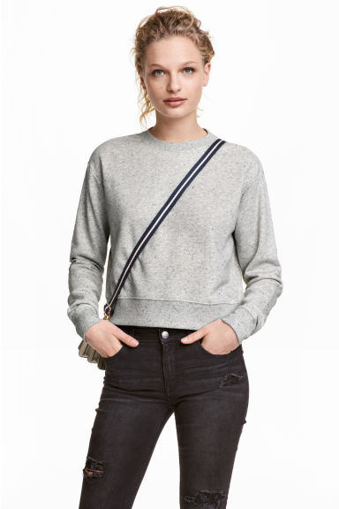 Short sweatshirt - Grey marl - Ladies | H&M CN