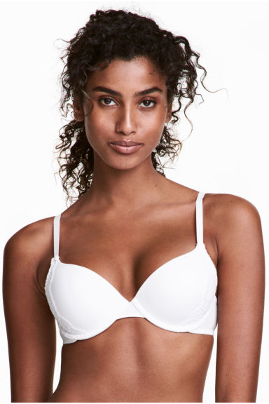 Microfibre push-up bra - White - Ladies | H&M