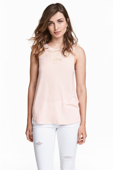 Sleeveless top with lace - Powder pink - Ladies | H&M CN