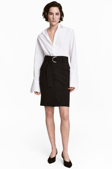 Skirt with a belt - Black - Ladies | H&M GB