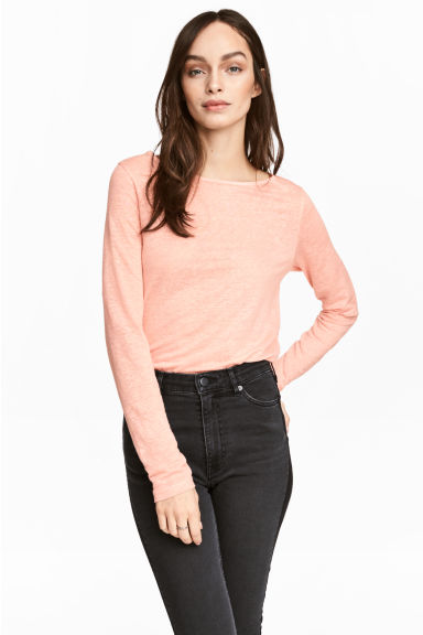 Long-sleeved linen top - Powder pink marl - Ladies | H&M CN